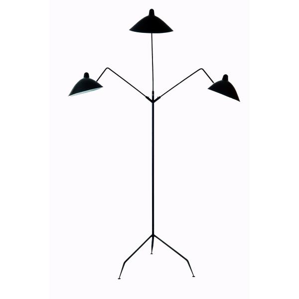 Lámpara de suelo de 3 brazos en acero, exclusiva y artesana del diseñador Serge Mouille, Francia. Fabricación francesa de excelente calidad
