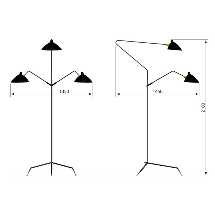 Lámpara de suelo de 3 brazos Serge Mouille. Dimensiones . Frente y alzado