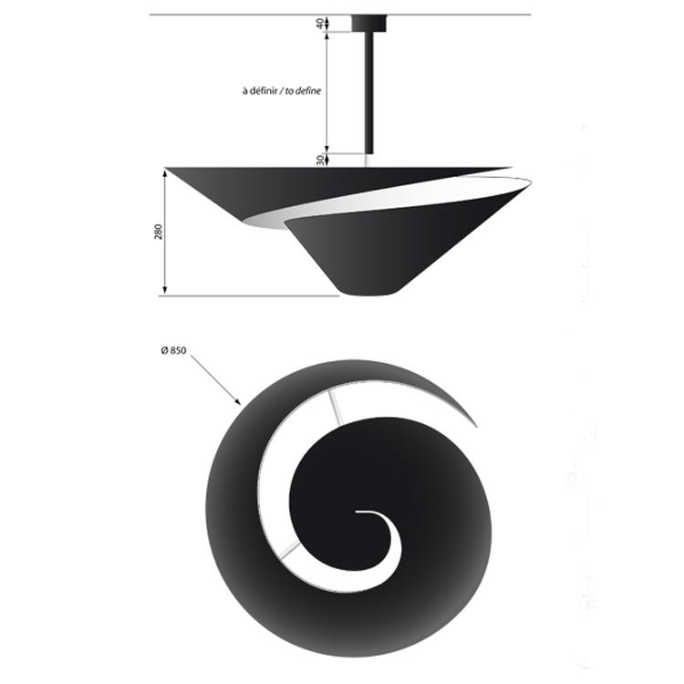"""Lámpara Serge Mouille de techo """"Caracol"""", diseño francés de la década de los 50. Fabricada artesanalmente en acero lacado negro"""