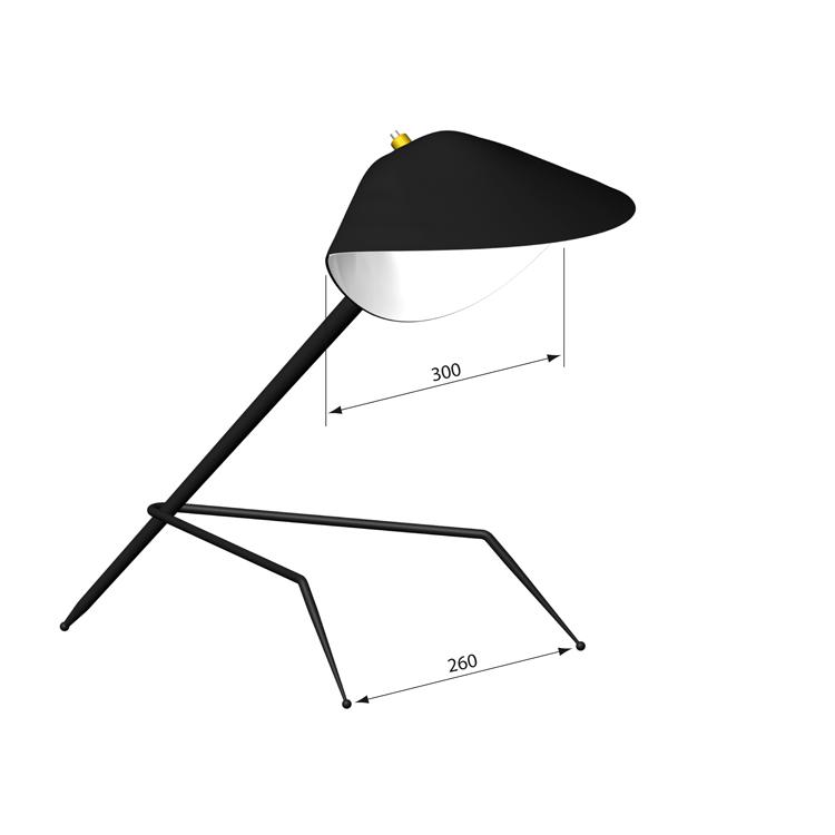"""Lámpara de despacho modelo """"Tripod"""" del diseñador francés Serge Mouille. Producción artesana en acero de los años 50"""