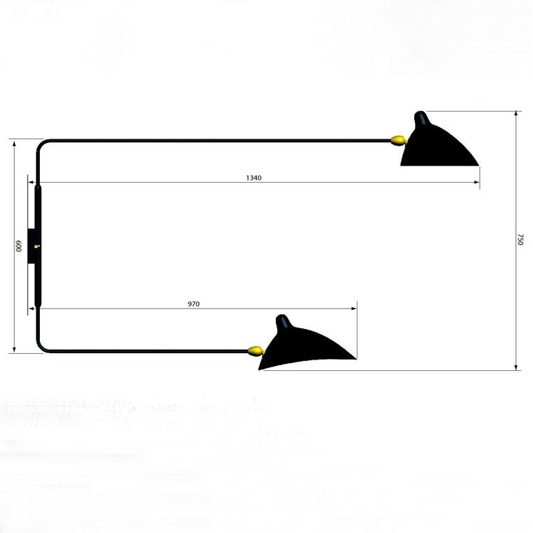 Aplique de pared en acero negro, de dos brazos giratorios rectos. Diseño oiginal años 50 del artista francés Serge Mouille. Pieza de colección