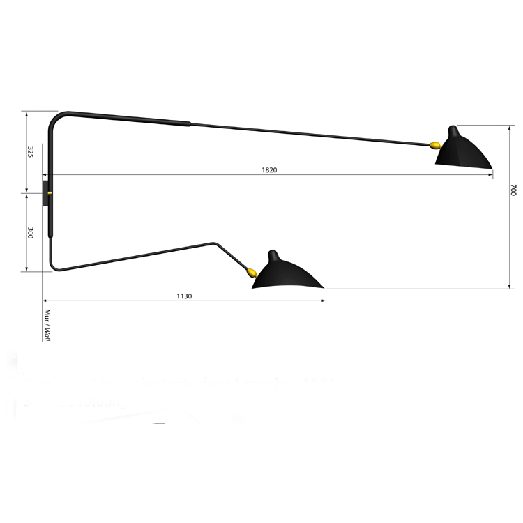 Aplique de pared de dos brazos giratorios, uno recto y otro curvo, en acero lacado. Diseño artesano de los años 50 de Serge Mouille