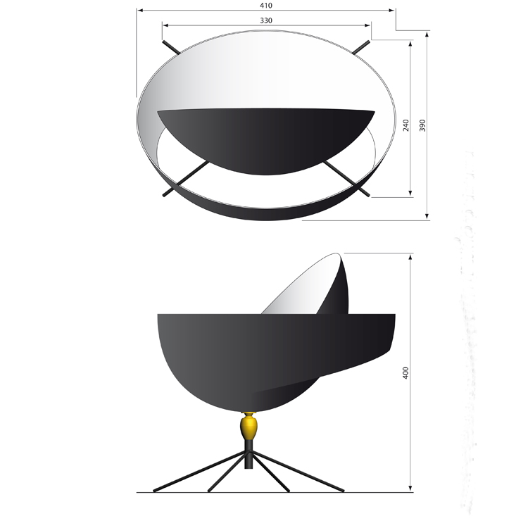 """Lámpara de despacho """"Saturno"""" Serge Mouille, diseñador francés de la década de los 50. Pieza exclusiva de colección en acero negro y bronce"""