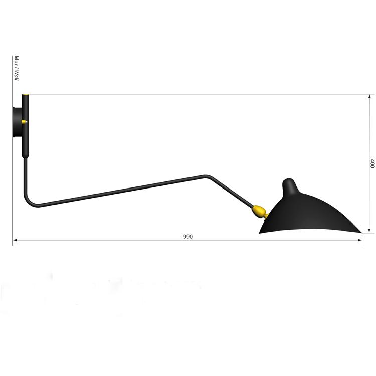 Aplique de pared de un solo brazo curvo, en acero lacado negro, elegante y original. Pieza única del diseñador francés Serge Mouille