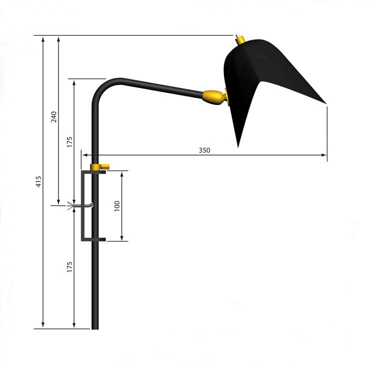 """Aplique de pared """"Antony"""" para cama, artesano y original de los años 50 del diseñador Serge Mouille en acero negro"""