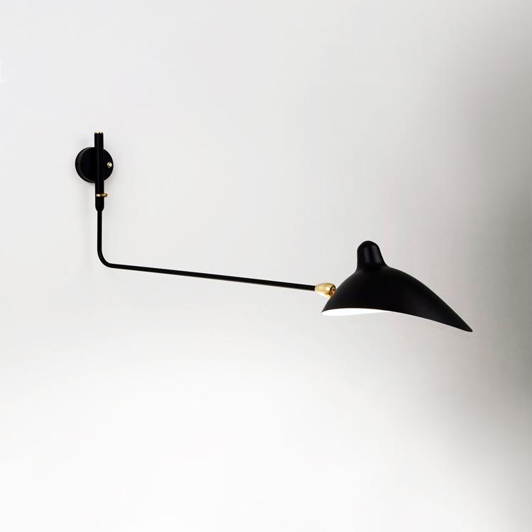 Aplique Serge Mouille de pared de un brazo. Producción artesana única en acero negro de calidad en Francia
