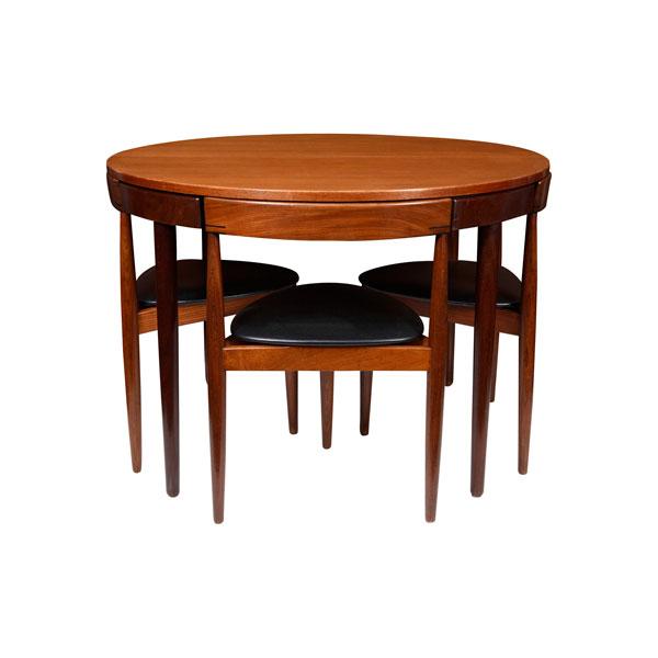 Mesa comedor redonda con 4 sillas de hans olsen 1953 for Mesas de comedor redondas extensibles de madera