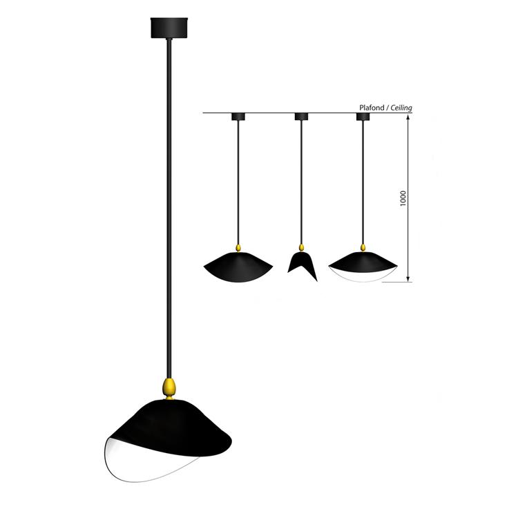"""Lámpara de techo """"Bibliotheque"""" en acero negro, del artista Serge Mouille en los años 50. Producción artesana francesa para interior"""