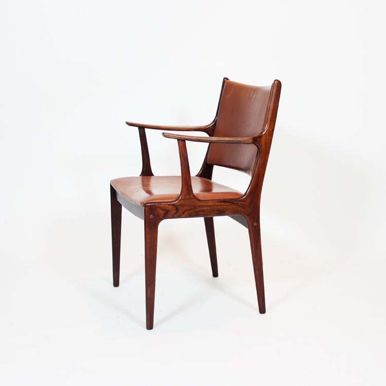 Silla de despacho danesa en teca y piel a os 60 for Silla despacho diseno