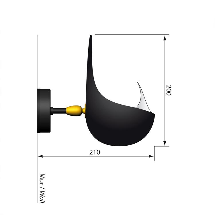 """Aplique Serge Mouille de pared modelo """"Concha"""", original y único. Fabricado en Francia, pieza de colección"""