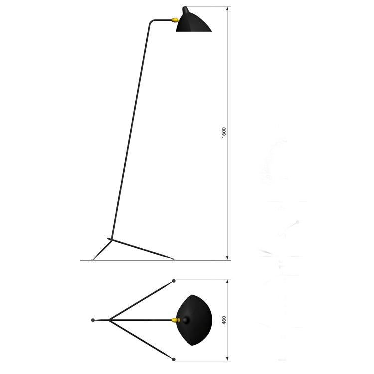 Lámpara de suelo en acero de Serge Mouille, de un brazo. Diseño original y único de la década de los 50 en Francia