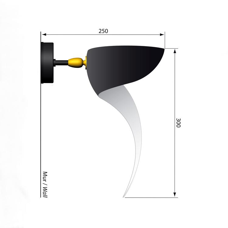 """Aplique pequeño de pared en acero, modelo """"Llama"""". Pieza diseñada por el artista francés, original de la década de los 50"""