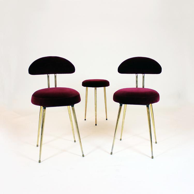 Pareja de sillas y taburete dise o de los a os 50 for Sillas de diseno moderno