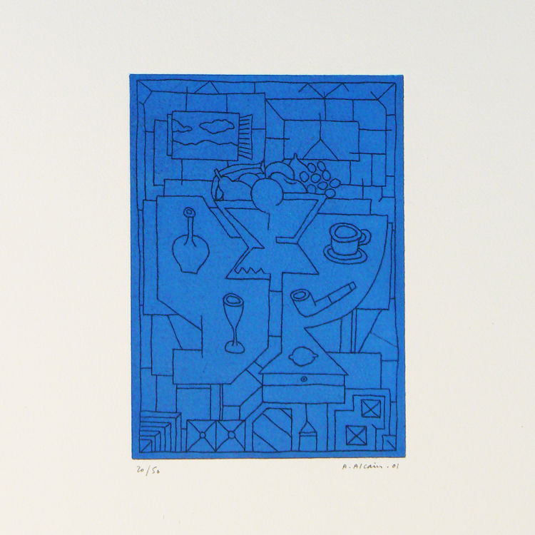 Alfredo Alcain, bodegón azul, 1991