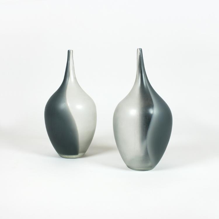 pareja de jarrones de murano aos 70 - Jarrones Modernos