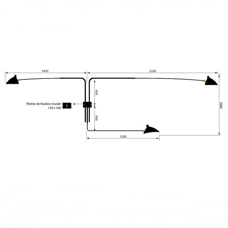 Aplique de pared en acero de calidad, de tres brazos pivotantes. Producción artesana francesa con diseño de Serge Mouille