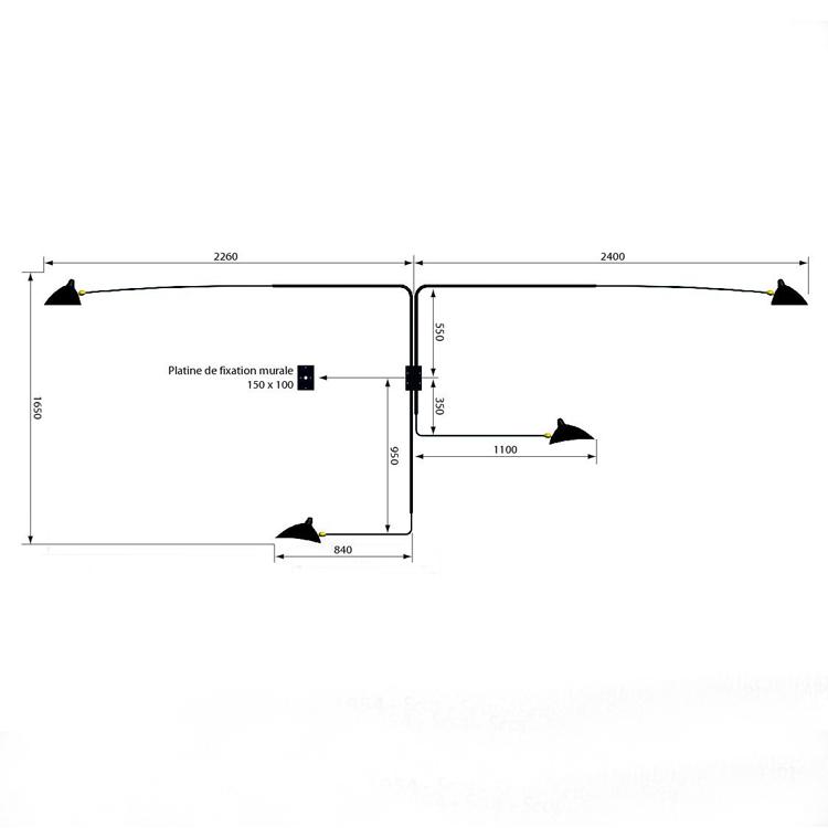 Aplique de pared en acero negro, de cuatro brazos giratorios diseñado por Serge Mouille. Modelo original de los años 50