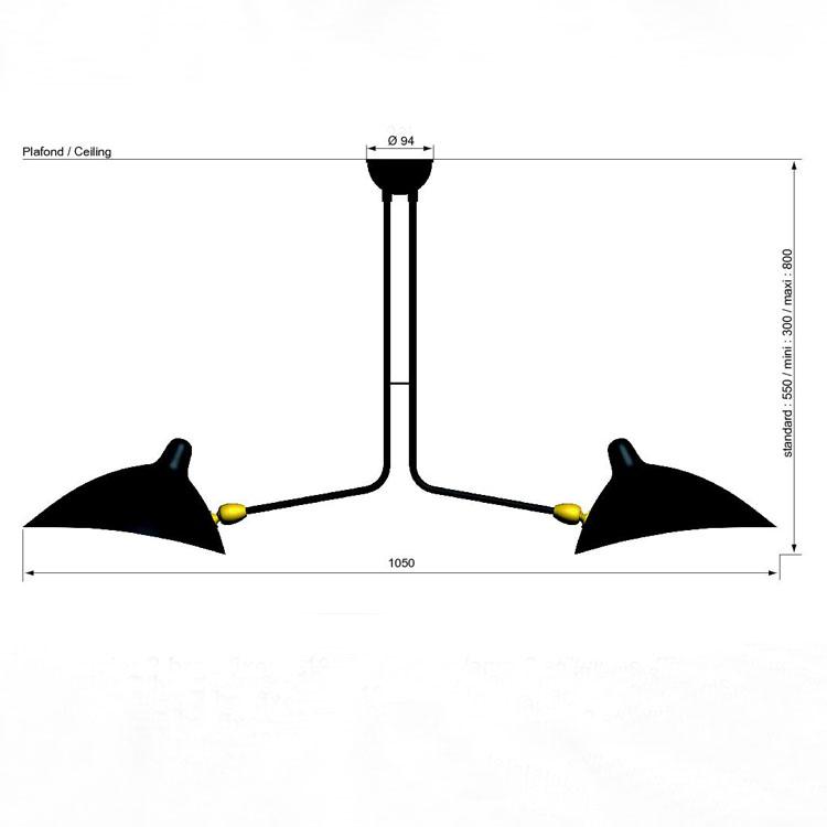 Lámpara de techo de dos brazos fijos, del diseñador francés Serge Mouille. Producción original de calidad. Pieza años 50