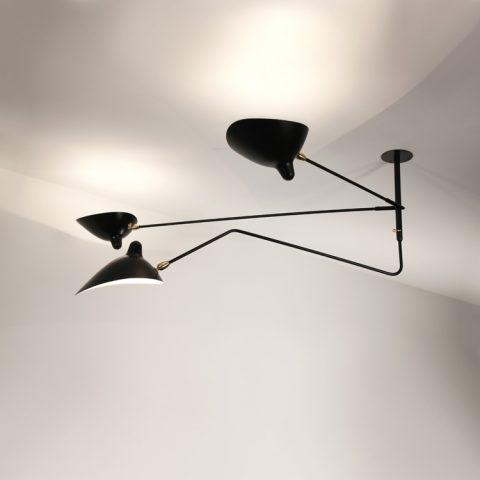 Lámpara modelo «Suspensión», de 2 brazos fijos y uno curvo, de Serge Mouille