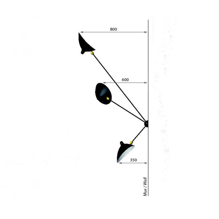 """Aplique """"Araña"""" de tres brazos de Serge Mouille, diseño de 1955. Dimensiones en alzado"""