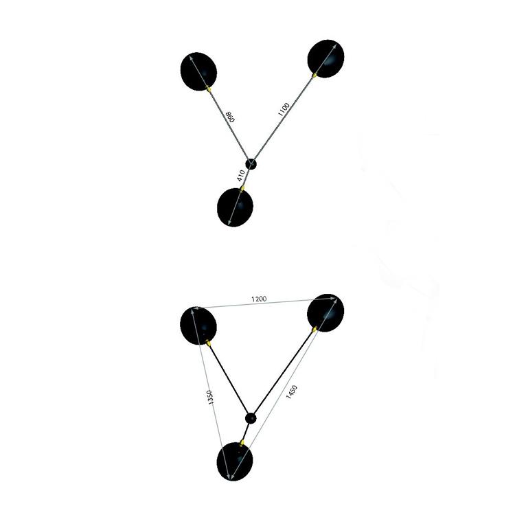 """Aplique """"Araña"""" de tres brazos de Serge Mouille, diseño de 1955. Dimensiones en planta"""