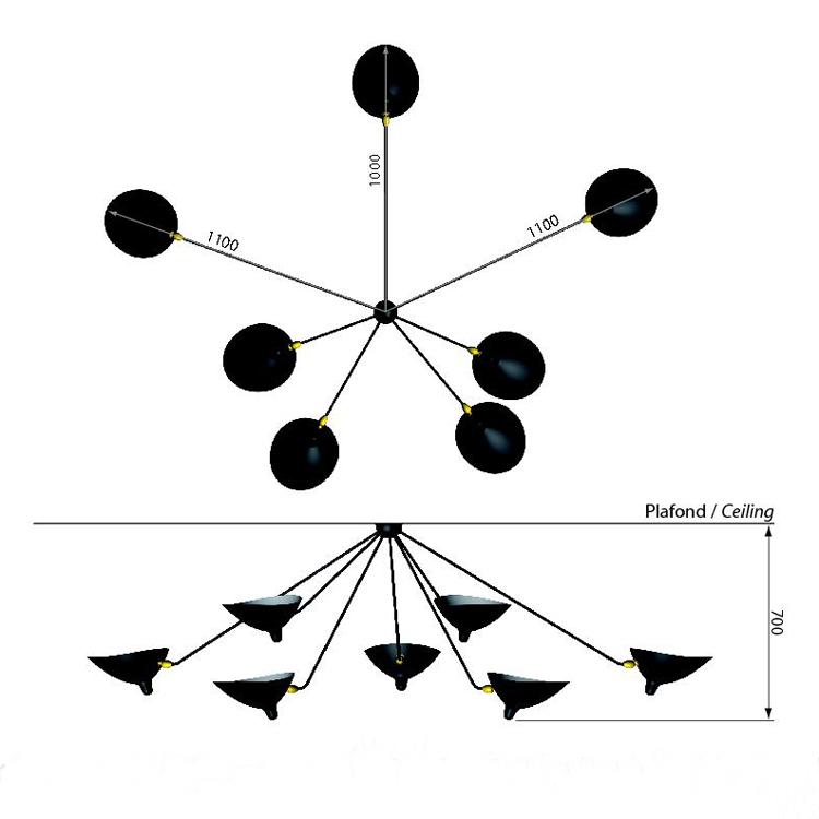 """Lámpara de techo """"Araña"""", siete brazos, de Sege Mouille. Dimensiones en planta y alzado"""
