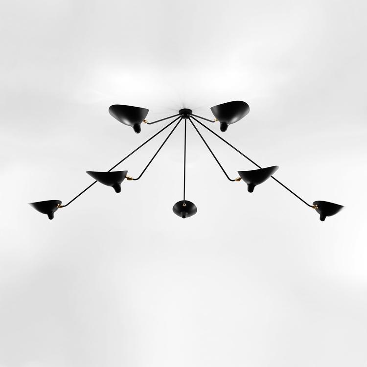 """Lámpara de techo """"Araña"""" Serge Mouille de siete brazos, moderna y artesana en acero lacado negro y bronce"""