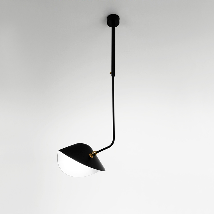 """Lámpara de techo """"Bibliotheque"""" de brazo curvo, artesana en acero. Diseñada por el artista francés Serge Mouille"""