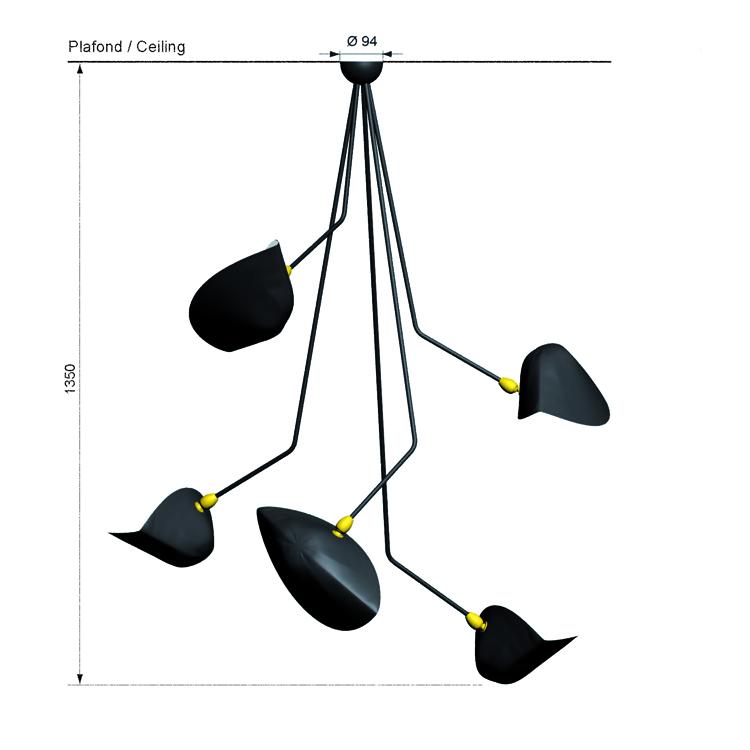 """Lámpara de techo """"Araña""""de cinco brazos en ángulo , realizada artesanalmente en acero. Serge Mouille año"""