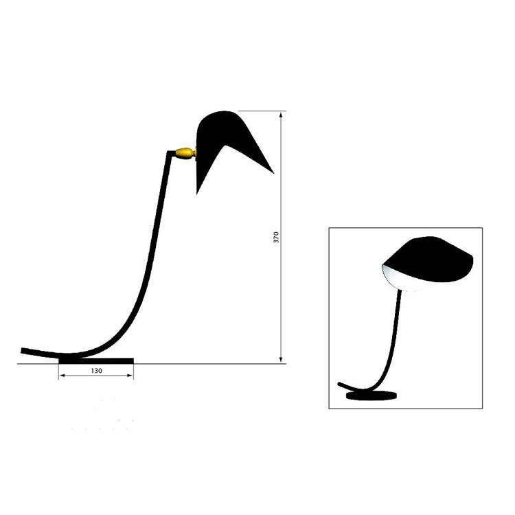 Lámpara de despacho Antony de Serge Mouille. Dimensiones