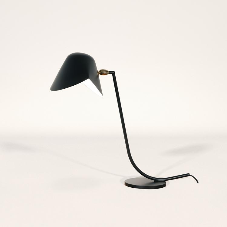 Lámpara de despacho modelo Antony, realizada en acero negro y bronce del artista Serge Mouille en Francia