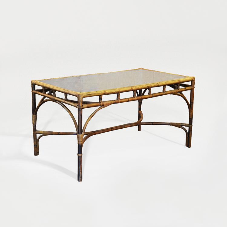 Mesa de bambú y tapa de cristal, hacia 1950