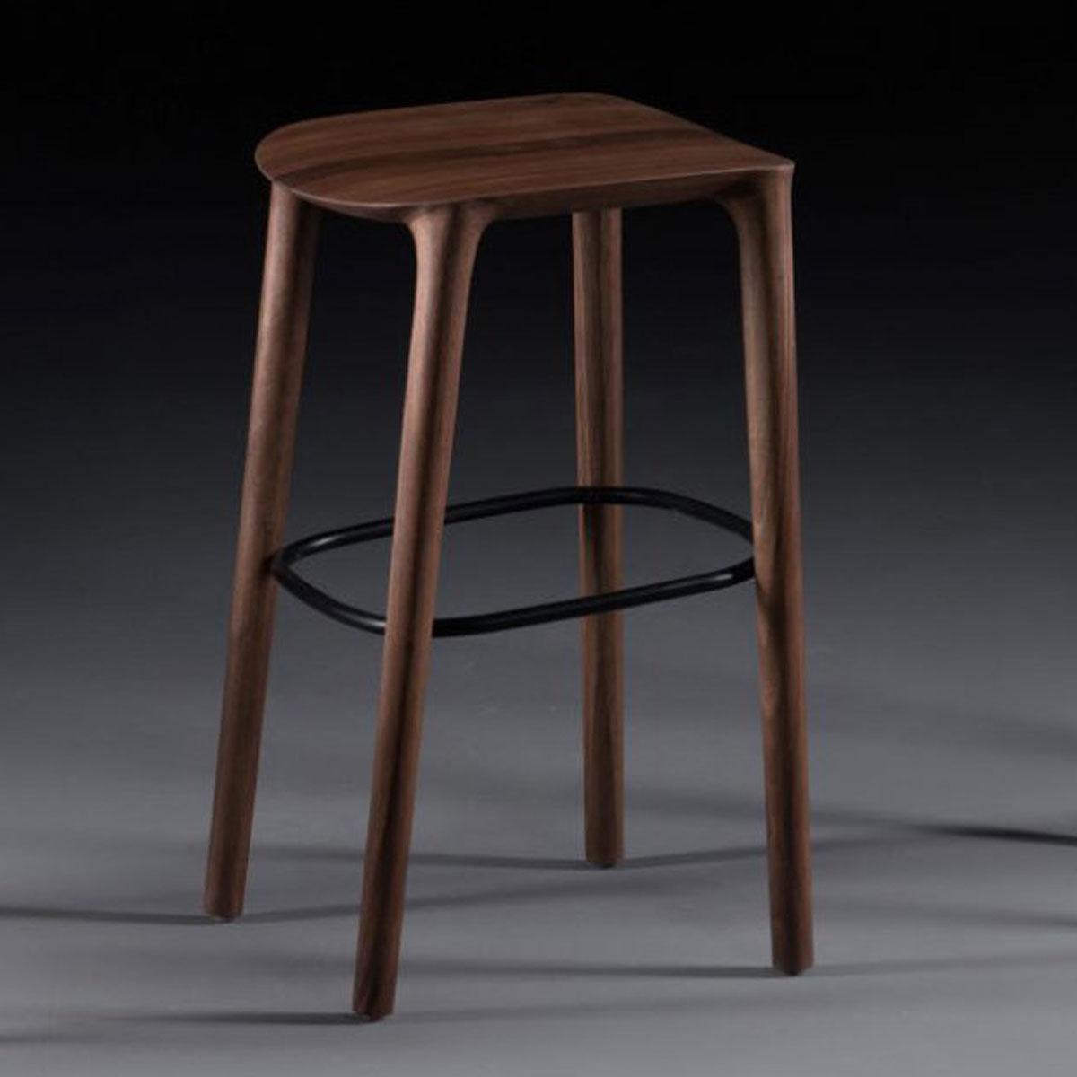 Silla Bar Neva 65 en madera maciza, con distintos materiales a elegir en el asiento, artesanía de calidad para Artisan