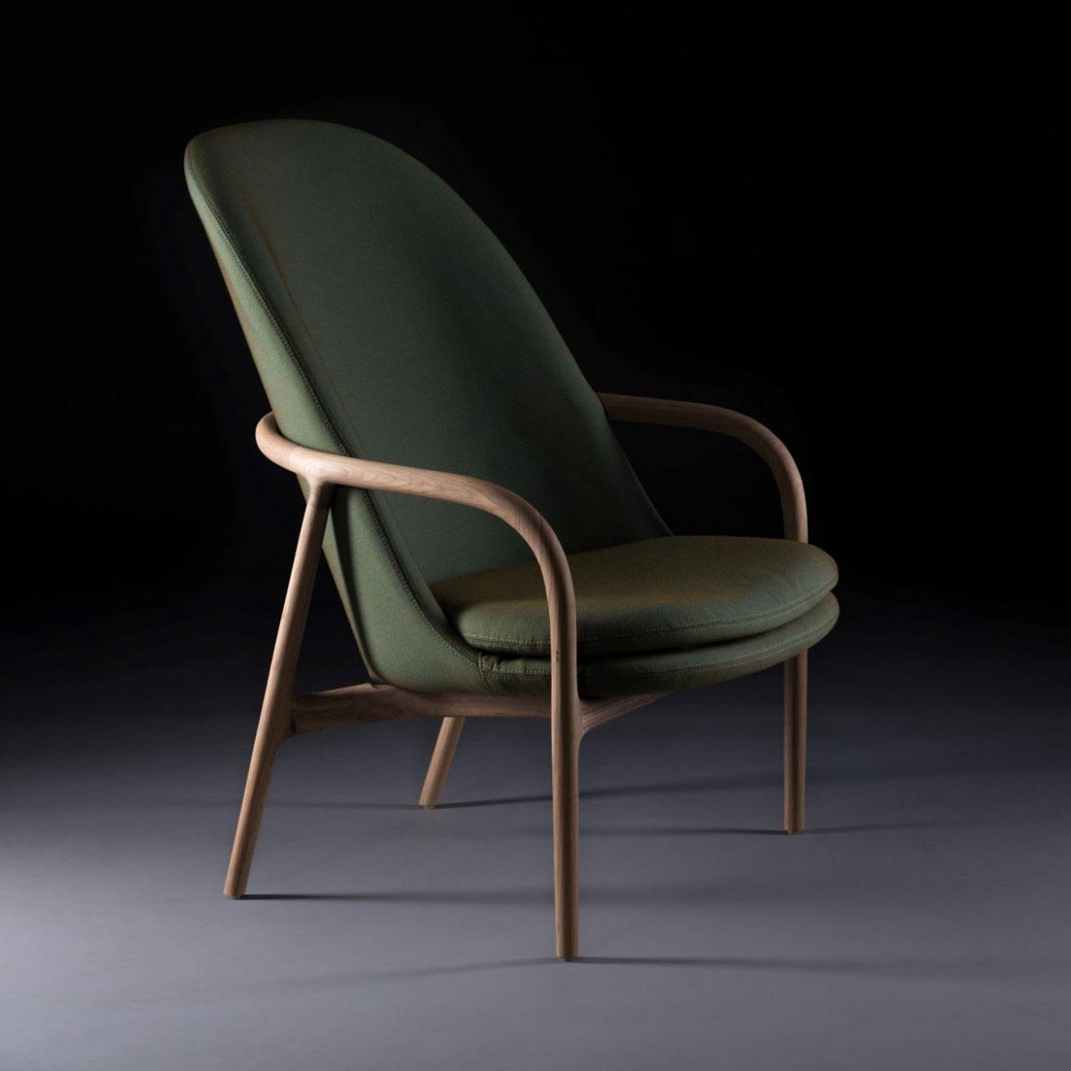 Sillon Neva Lounge Alto, realizado en madera y tapicería de máxima calidad, artesano y elegante para Artisan
