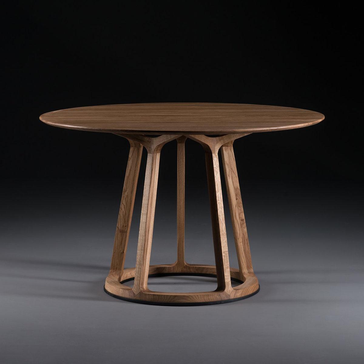 Mesa Pivot Redonda en madera con diseño vanguardista y producción artesanal