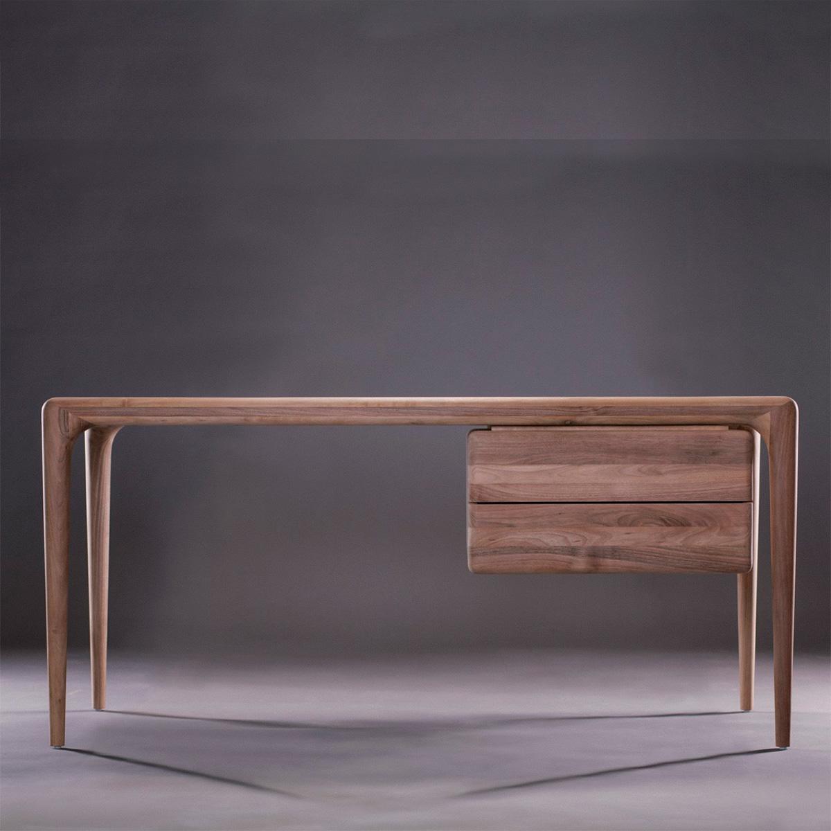 Escritorio de Trabajo Latus, diseño elegante y original en madera, de producción artesanal