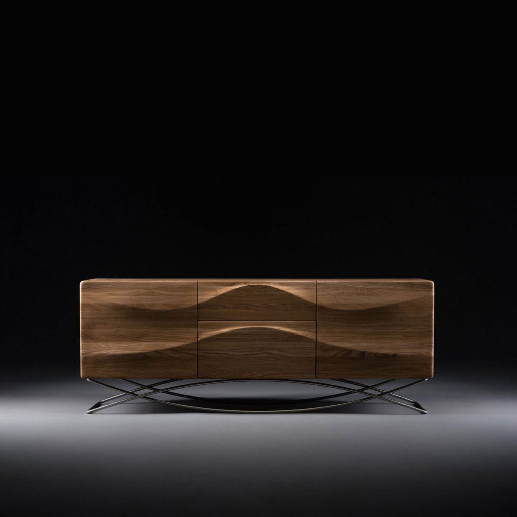 Aparador Lasta 1 en maderas de calidad con pata de acero inoxidable, producción artesana y moderna de Bosnia