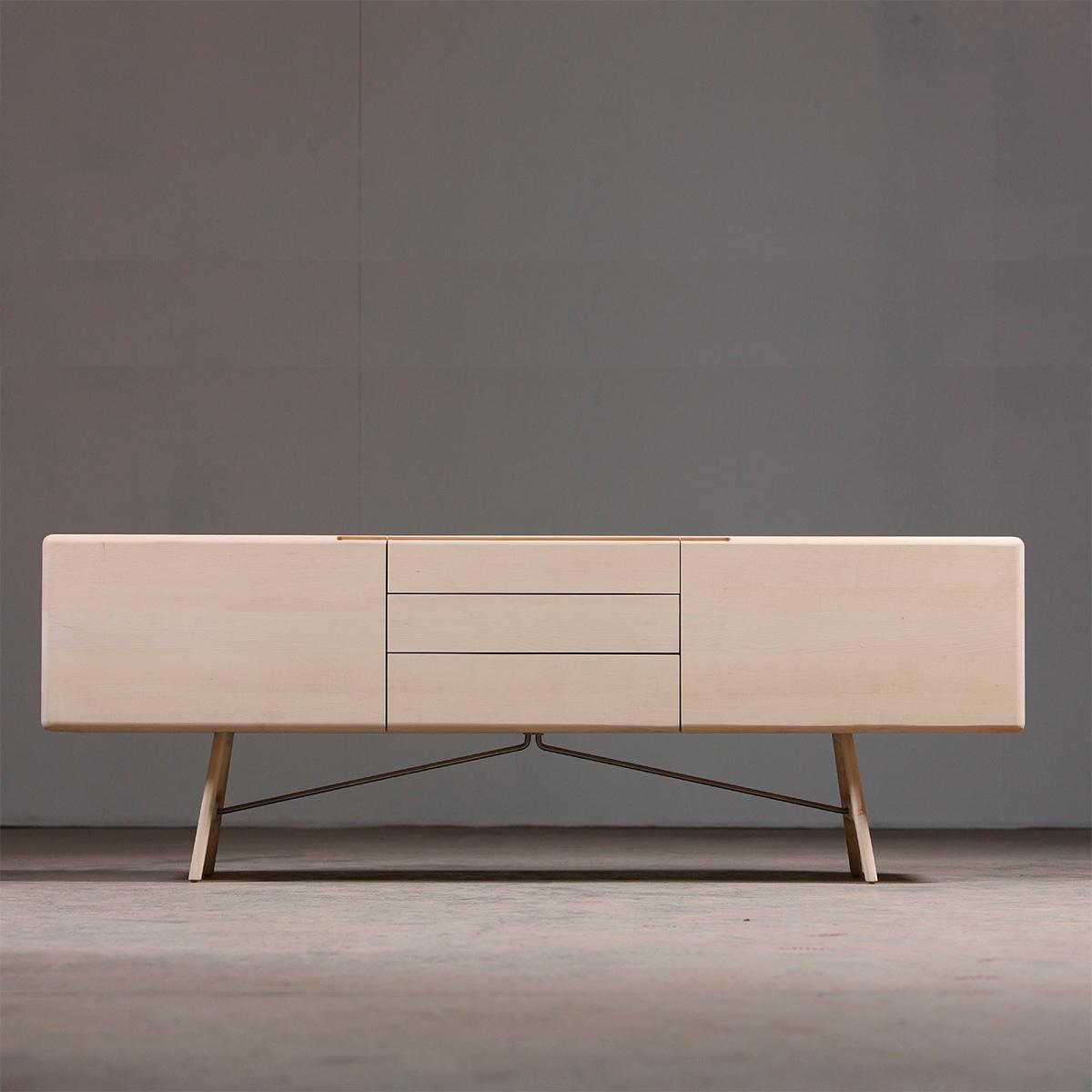 Aparador Tesa, en madera y acero de diseño moderno y actual