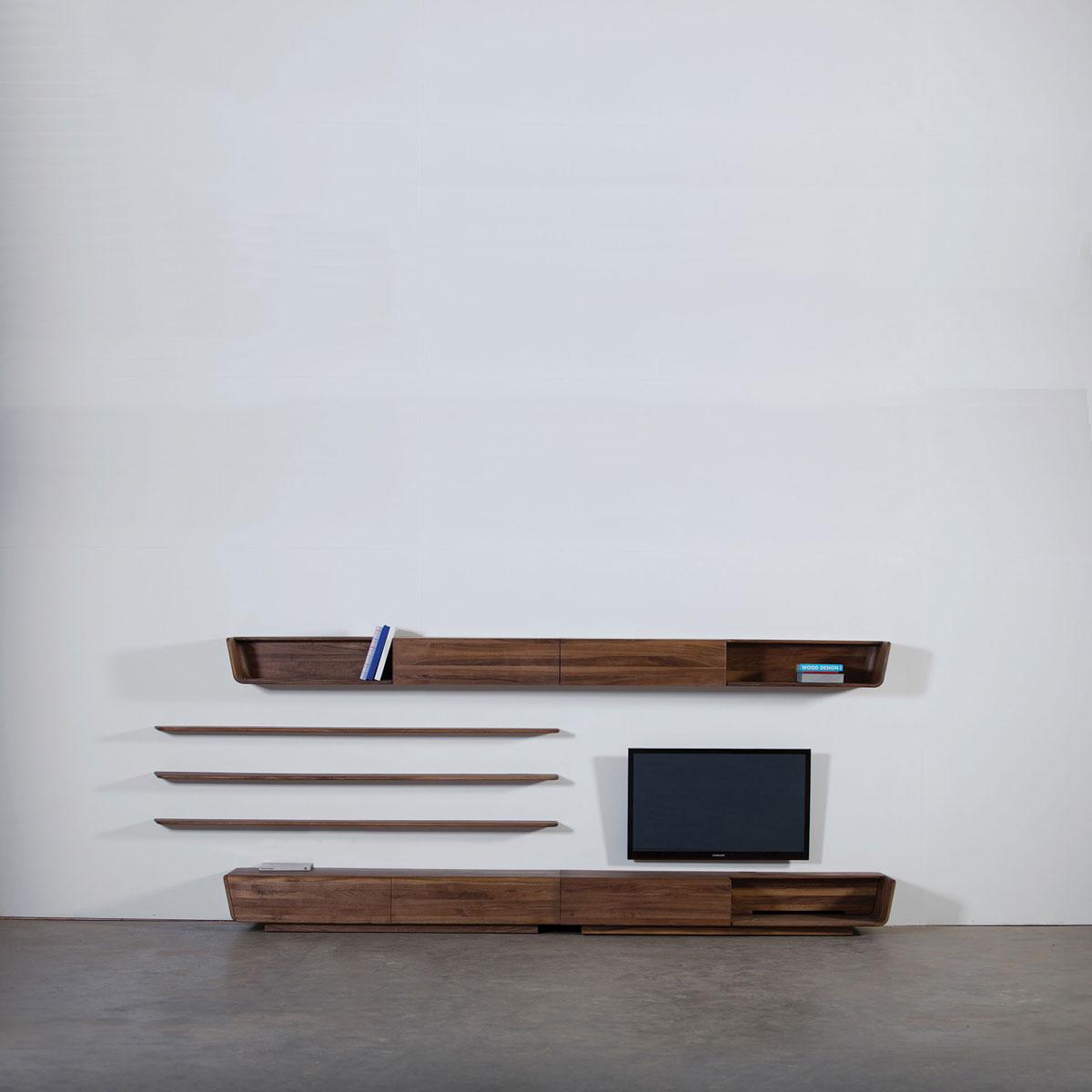 Mueble Modular Latus Pared En Madera De Diseno Vanguardista Europeo - Pared-de-madera