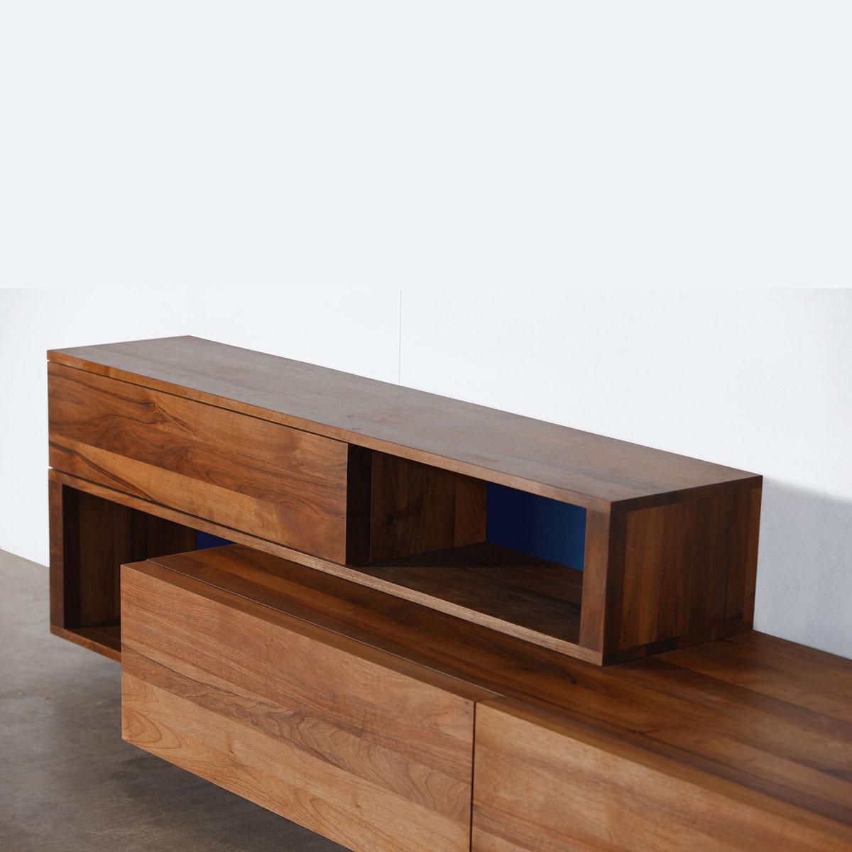 Mueble modular log de pared en madera moderno y artesano for Mueble modular
