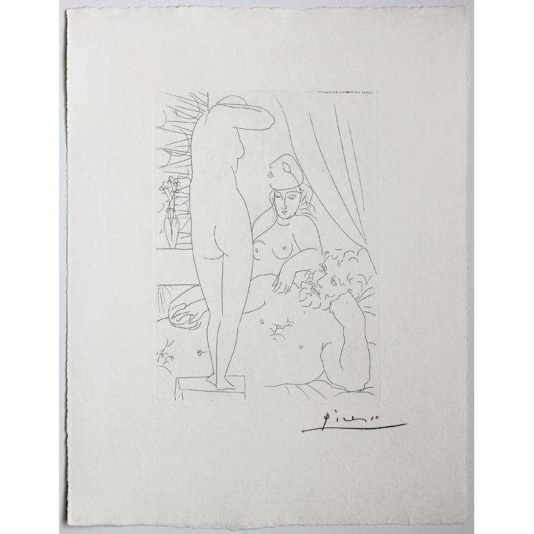 Pablo Picasso. Escultor en reposo con modelo