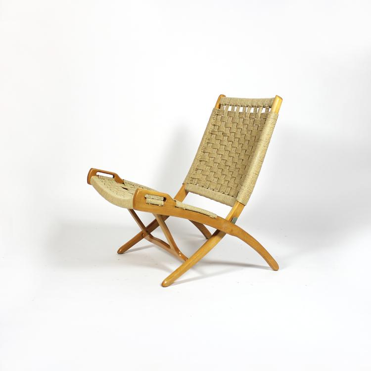 Silla plegable de cuerda. Suecia, años 60