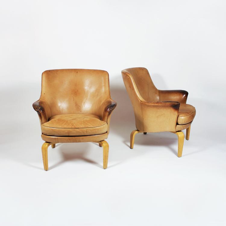 Pareja de sillones de Arne Norell, hacia 1970