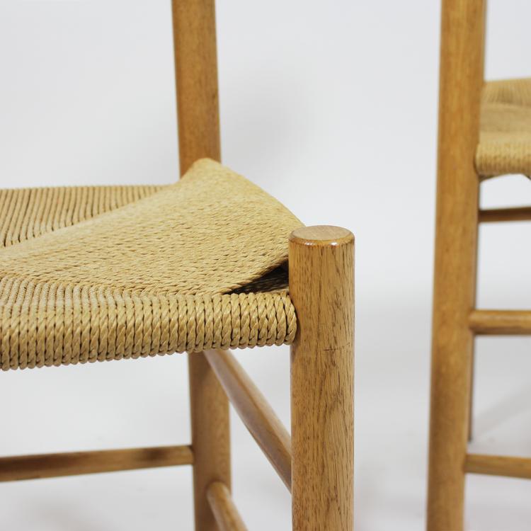 Conjunto de sillas de Borge Mogensen. Detalle del asiento