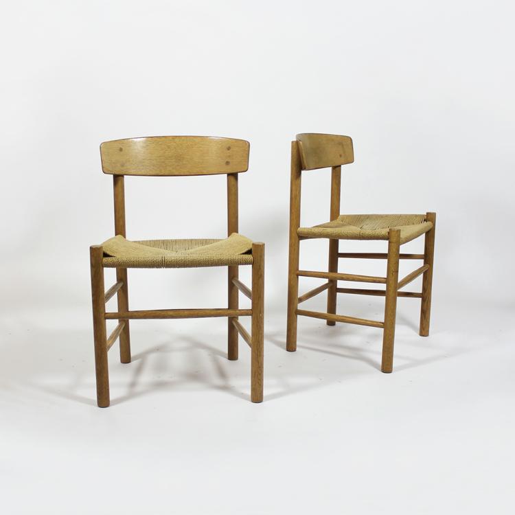 Conjunto de sillas de Borge Mogensen. Modelo J139