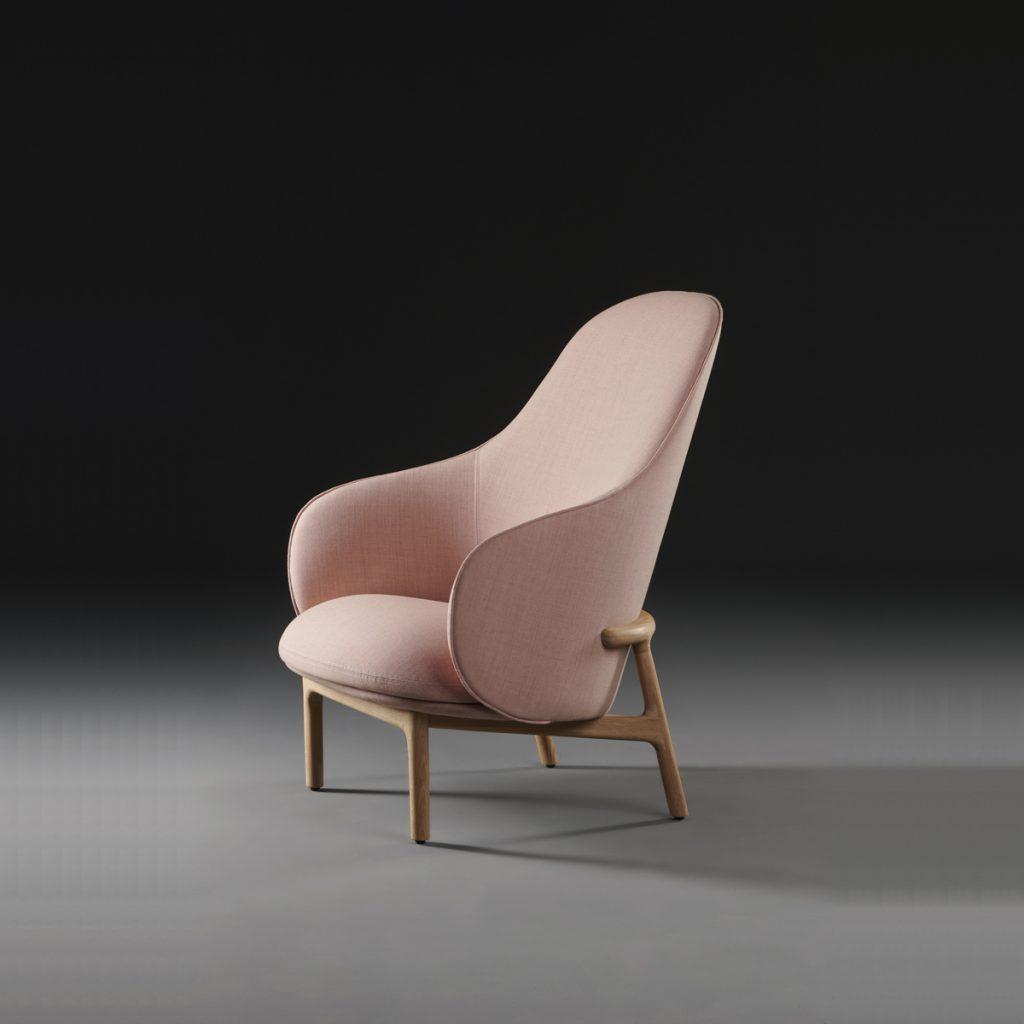 Sillón Mela Lounge Alto en madera maciza y tapicería de alta calidad para Artisan. Realizado por Regular Company en Europa